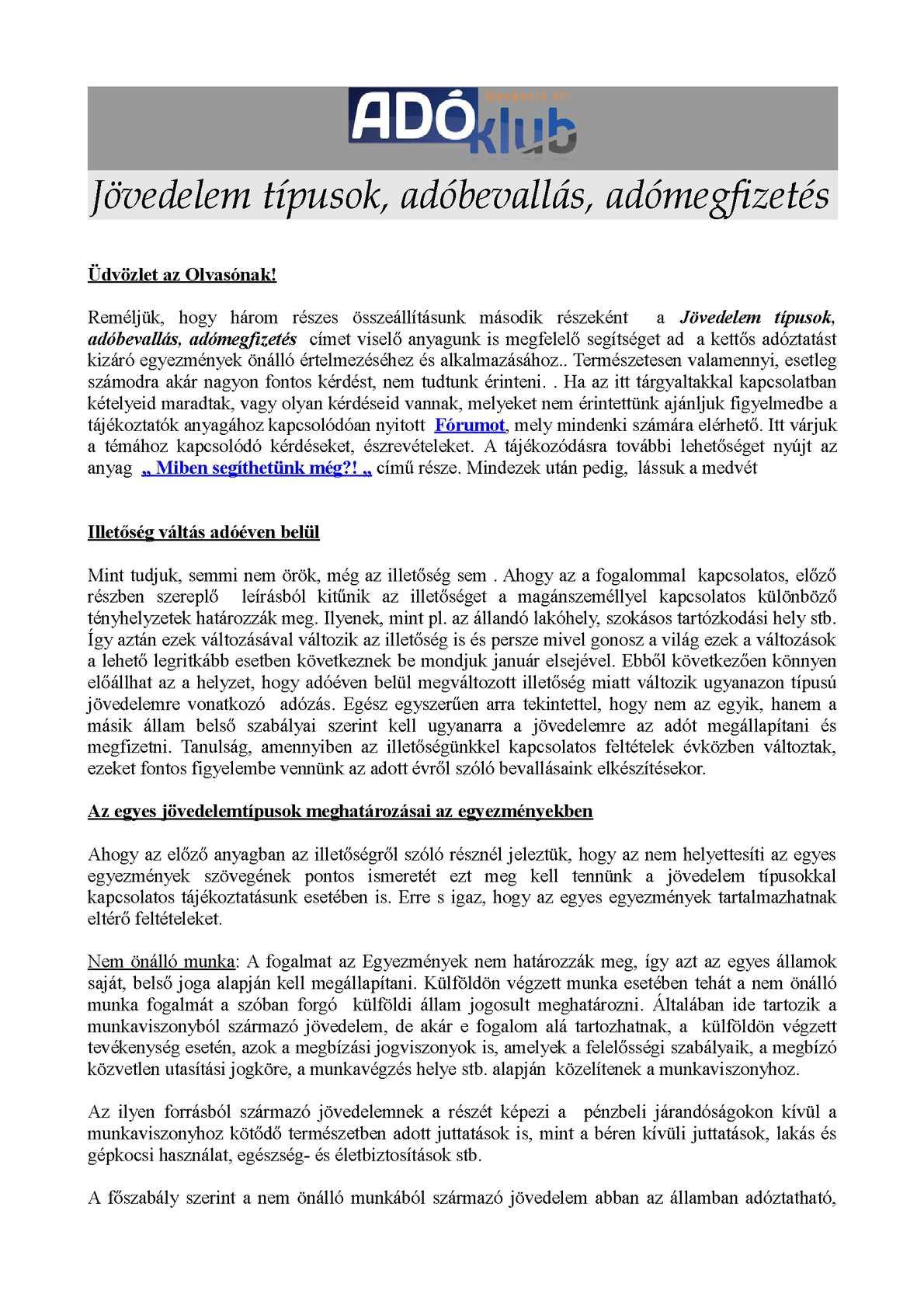Külföldiek jövedelemadózása jövedelemtípusok szerint Magyarországon