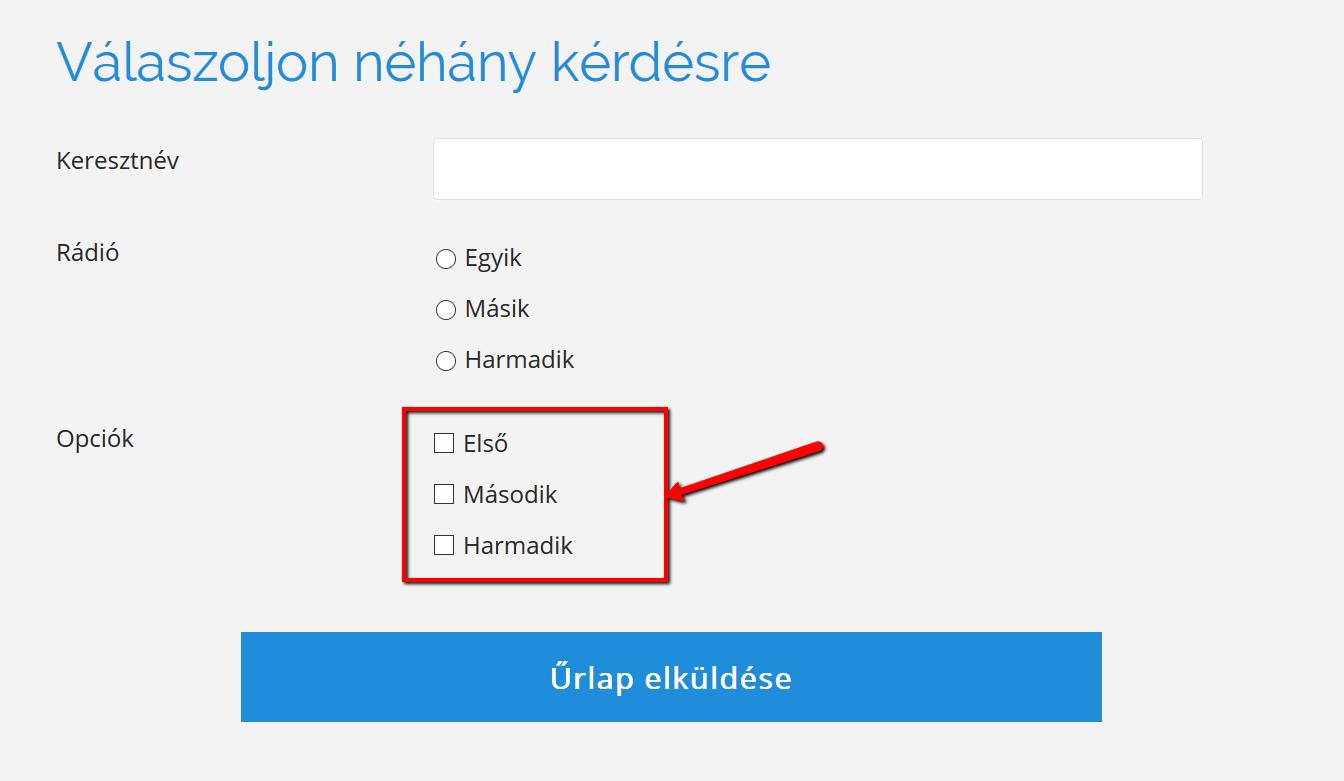 bejelölt opciók)