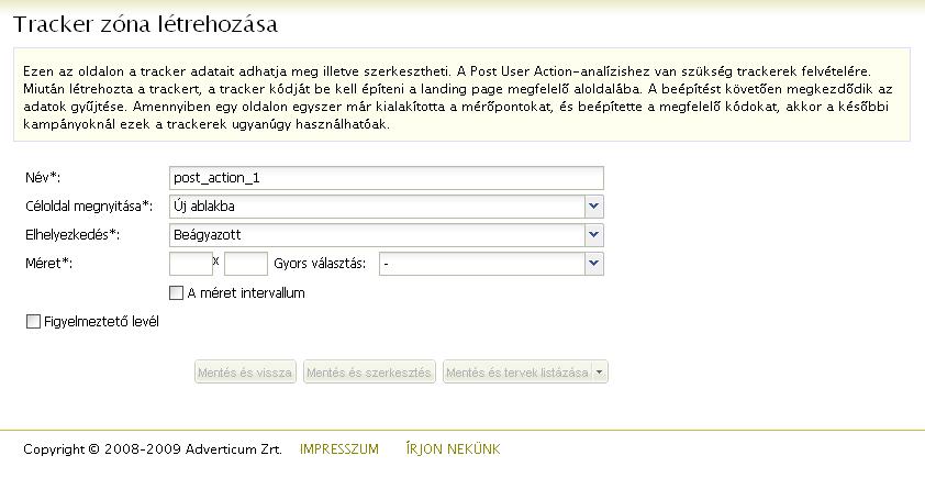 opciók céloldala)