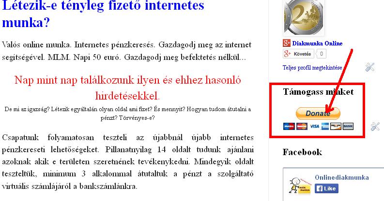 valós kereseti oldal a neten