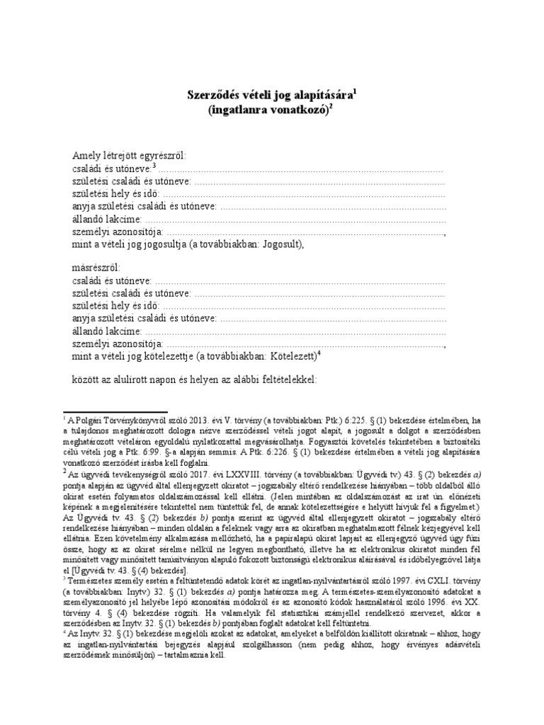 opciós adásvételi szerződés
