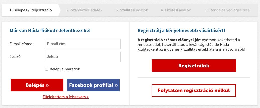 opció regisztráció)