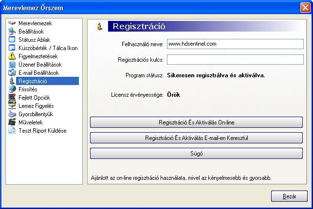opció regisztráció