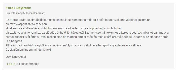tőzsdék bemutató számlája)