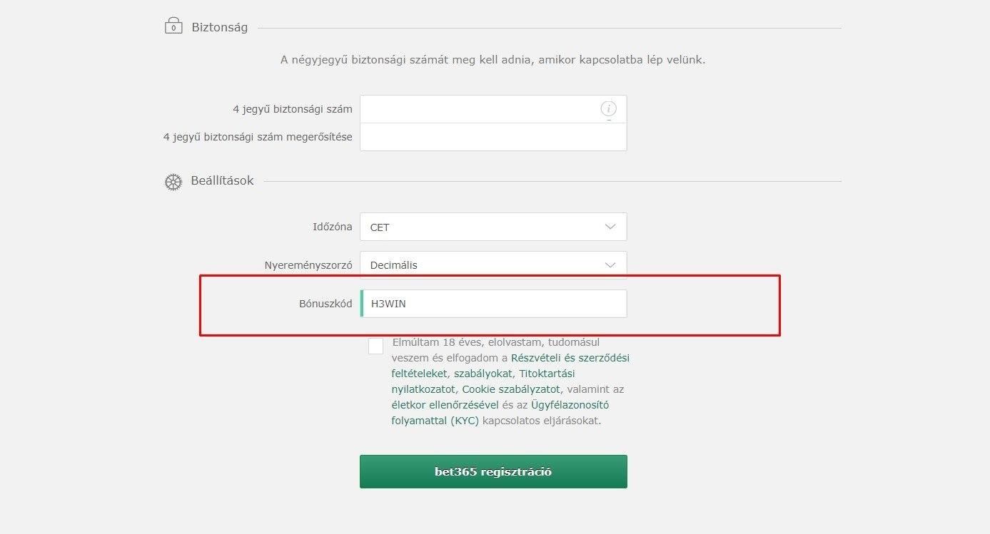 opció regisztráció bónusz