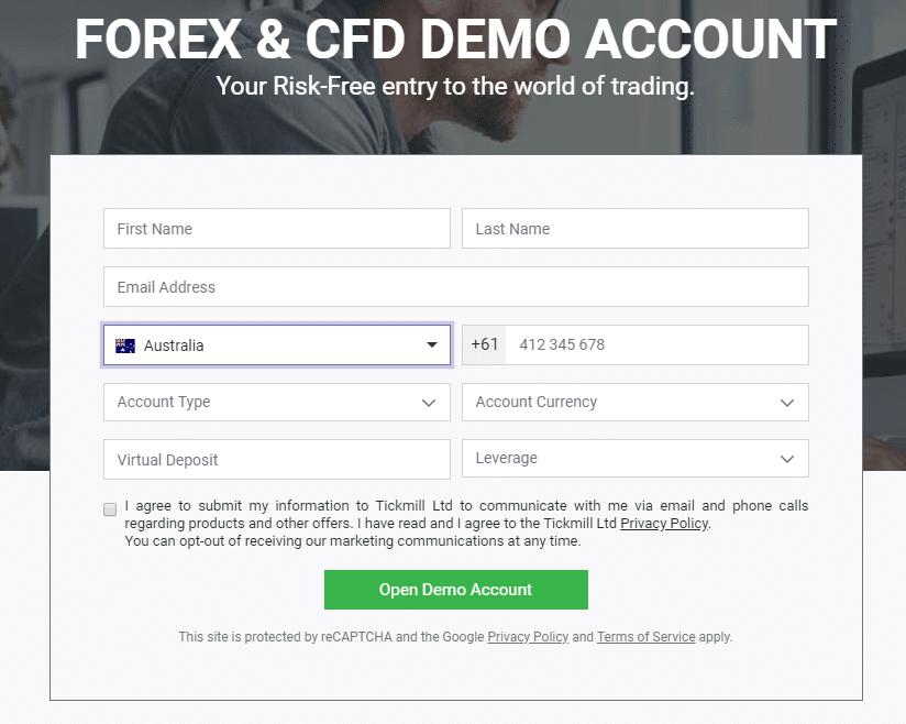 nyissa meg a demo számlát